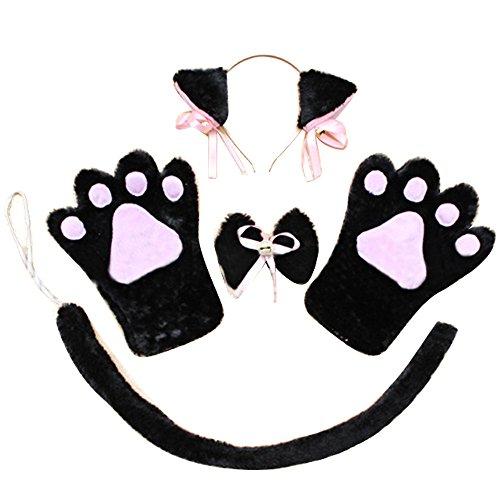 4 PCS Halloween Christmas Cosplay Costume Accessories Kit Plush Cat Ear Hair Headband Bow Tie Gloves Tail