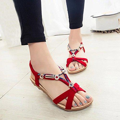 Transer® Damen Sandalen Bohemian-Stil Wulstig Elastischer Beige Schwarz Rot Flach Wildleder+Gummi Sandalen (Bitte achten Sie auf die Größentabelle. Bitte eine Nummer größer bestellen) Rot