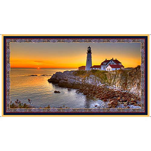Lighthouse On Cliff Panel 24 X 44 Inches Quilting Treasures 26432-X
