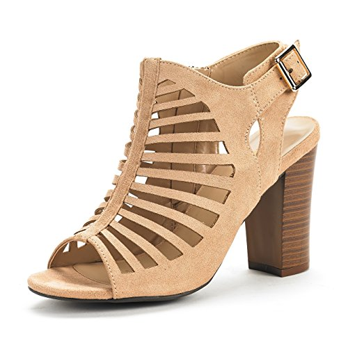 - DREAM PAIRS Women's Mumbai Khaki Mid Chunky Heel Pump Sandals - 6.5 M US