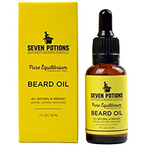 Beard Oil 1 fl oz by Seven Potions. Fragrance Free Beard Softener. Stops Beard Itch. Natural, Organic, Beard Conditioning Oil. Contains Jojoba Oil (Pure Equilibrium)