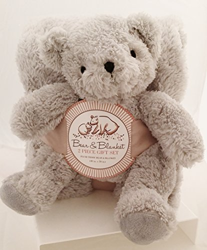 Plush Gray Teddy Bear & Blanket 2 Piece Gift Set - 50