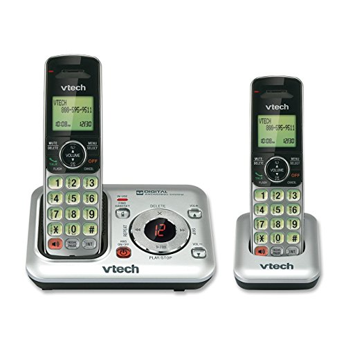 (VTech CS6429-2 2-Handset DECT 6.0 Cordless Phone with Answering System and Caller ID, Expandable up to 5 Handsets, Wall-Mountable, Silver/Black)
