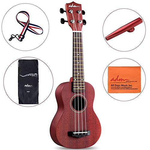 ADM Soprano Ukulele 21 Inch Wooden uku for Beginner Kids Starter with Carrying Bag, Wine Red