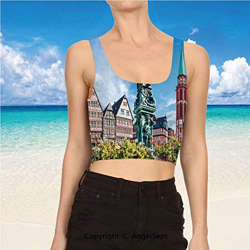 Casual Tank Tops,Sexy Tops Women Summer S,Multicolor Old City of Frankfurt Germ]()
