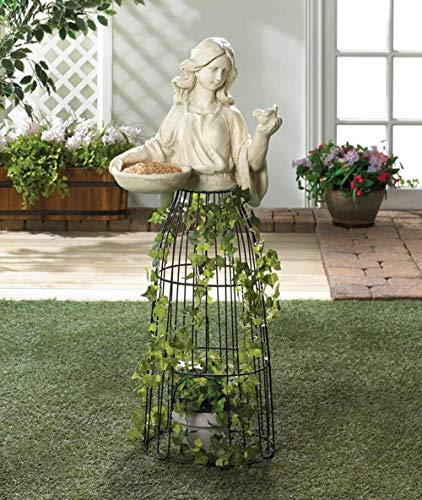 Statue Bird Feeder Whimsical Decorative Tall Metal Birds Feeders For Outside Beautiful Outdoor Iron