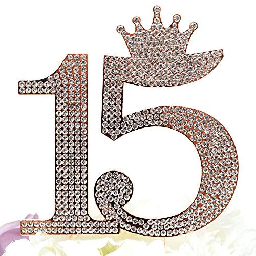Number 15 Quinceanera Rhinestone Princess Crown Monogram Cake Topper - Sweet 15th Birthday Party (Rose Gold)