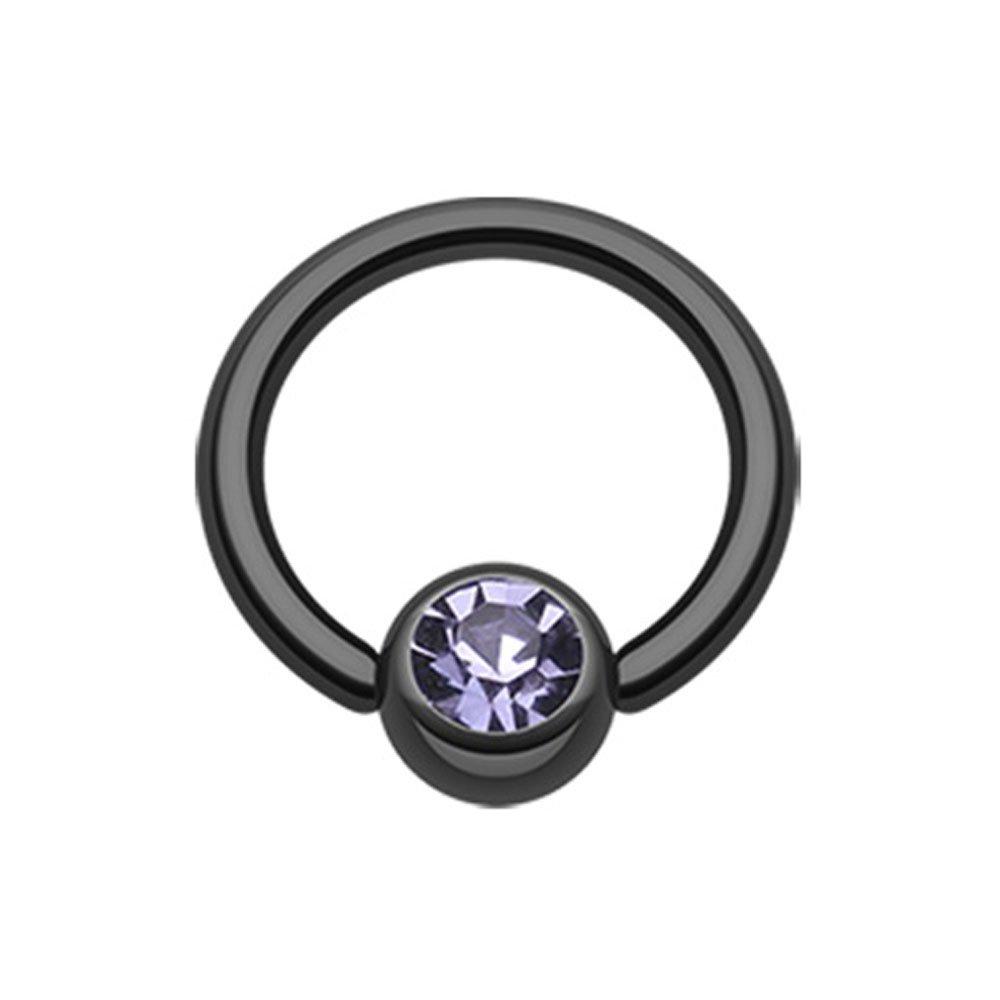 Inspiration Dezigns Black Colorline PVD Light Purple Gem Ball Captive Bead Ring