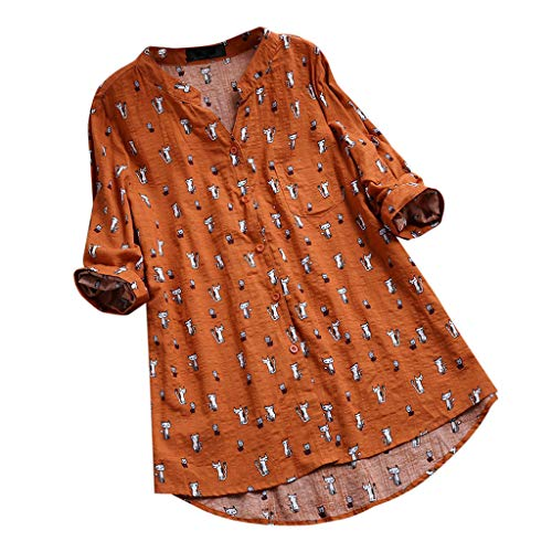JOFOW Blouses Womens Boho Solid Cute Cats Print Tops V Neck Cotton Linen No Collar Buttons 3/4 Sleeve Loose Dress Shirts Gift (5XL,Orange)