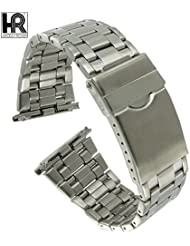 Hadley Roma MB9256W 22-28mm Stainless Mens Metal Deployant Watch Band Roma