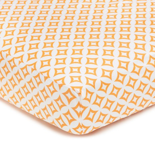 American Baby Company 100% Natural Cotton Percale Fitted Crib Sheet for Standard Crib and Toddler Mattresses, Orange Tweedle Dee Tile, Soft Breathable, for Boys and Girls