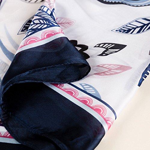 Vent Élégant Automne 90 Plage Floral Bleu Châle Anti Satin Cm Foulard Souple Impression Fibre 175 Léger Marine Coloré Soie Aivtalk Classique Femme qZaF0wn