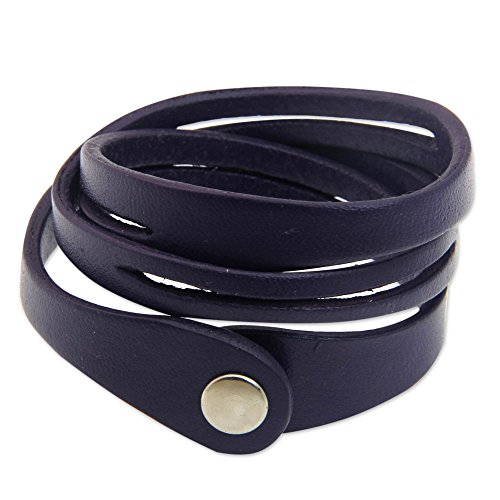 NOVICA Leather Wristband Bracelet, 7.0