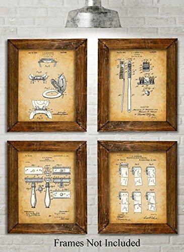 Original Bathroom Patent Art Prints - Set of Four Photos (8x10) Unframed (Stars Retro)
