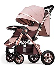 DUWEN Folding Portable Stroller, Stroller, Compact and Lightweight Fully Reclining Baby to Carrycot, Accessories, Rain Cover, Footmuff, for Newborn, from Birth to 3 Years, Black (Color : Khaki)