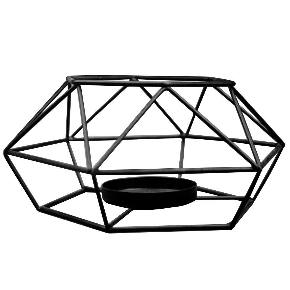 rycnet Hollow a forma di esagono geometrico design tealight votive Candle Holder Home Decor Blacks