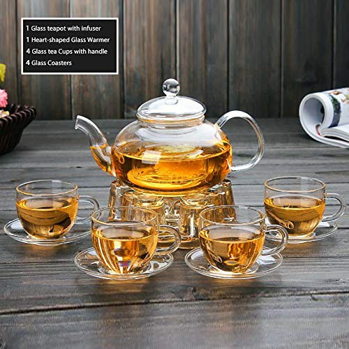 Clear Glass Teapot Tea Set with Infuser 4 Small glass Tea Cups and Saucers 1 Heart Shape Crystal Glass Warmer Base,Glass Tea Maker Kettle with Strainer Blooming Loose Leaf tea pot