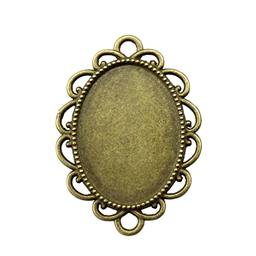 NEWME 18Pcs 18x25mm Oval Inner Size Antique Bronze Planted Flower Connector Single Side Double Hanging Cabochon Base Blank Tray Cameo Setting Necklace Bracelet Pendant Charms