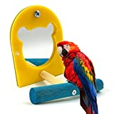 Vito546rton Easy to Install, Parrot Mirror, Bird Cage Decor Toy Acrylic Mirror Pet Bird Parrot Toy Perches Paw Grinding Wood Standing Bar Rack