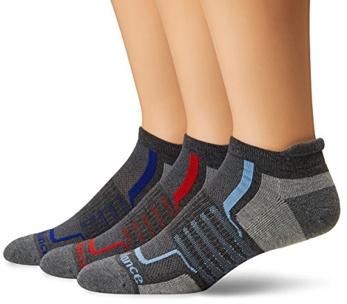 New Balance Performance Low Cut Tab Socks (3 Pair), Grey/Black/Blue/Red, Large