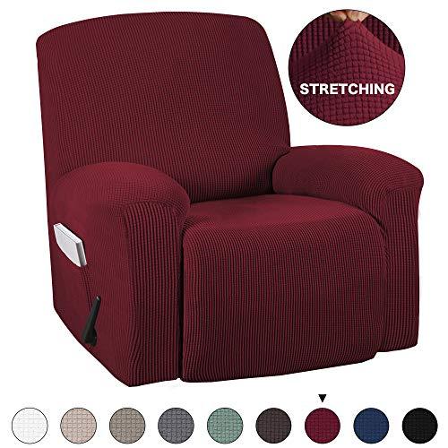- Recliner Stretch Slipcover, Sofa Cover, Furniture Protector with Elastic Bottom Jacquard Spandex Stretch Slipcover for Recliner Chair Sofa Covers Anti-Slip Slipcover (Recliner, Burgundy)