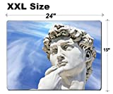 Luxlady Extra Large Mouse Pad XXL Extended Non-Slip Rubber Gaming Mousepad 24x15 Inch, 3mm thick Stitched Edge Desk Mat IMAGE ID: 24094674 Detail close up of Michelangelo s David statue on blue sky ba