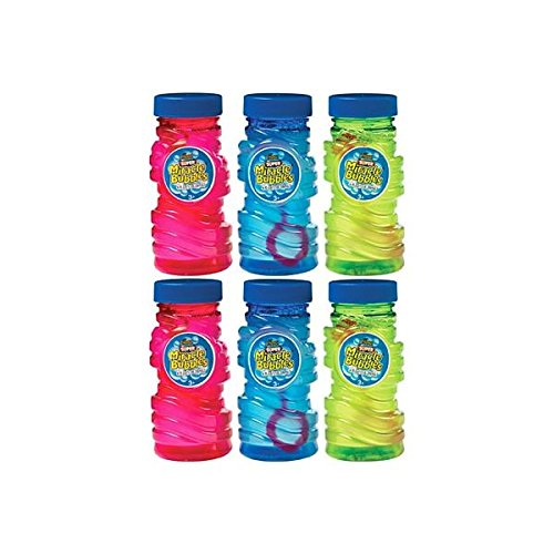 Fun Filled Summer Super Miracle Bubble Makers Party Activity, Assorted Colors, Plastic , 4 Ounces, Pack of 6
