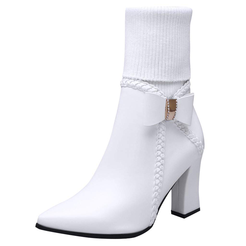 Kauneus Womens Classic Leather Stitching Sock Boots Bowknot Pointed Toe High Heel Zipper High Boots Fashion Boots White by Kauneus Fashion Shoes