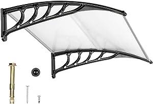 "VINGLI Window Awning Door Canopy, 40"" x 40"" Window Awning Overhead Door Modern Polycarbonate Cover Outdoor Front Door Patio Canopy UV Rain Snow Sunlight Protection Hollow Sheet/Black"