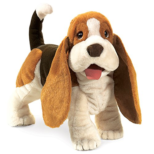 Folkmanis Basset Hound Hand Puppet Big Mouth Animal Puppets