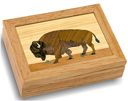 MarqART Wood Art Buffalo Box - Handmade USA - Unmatched Quality - Unique, No Two are The Same - Original Work of Wood Art. A Buffalo Gift, Ring, Trinket or Wood Jewelry Box (#4110 Buffalo 4x5x1.5)