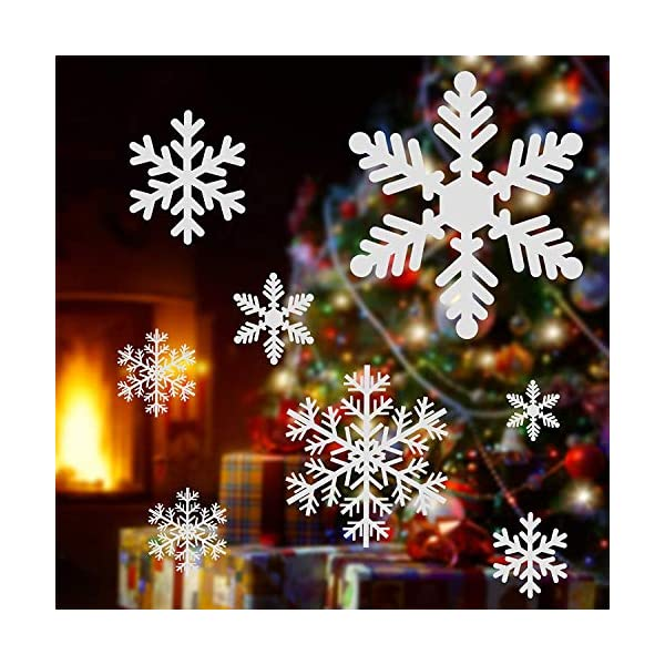Adesivo Fiocco di Neve per finestre, 108 Natale Vetrofanie Rimovibile Adesivi Murali Finestra Decorazione Fiocco di Neve Decorazioni Natalizie Fai da Te Sticker Decorativi da Finestra 2 spesavip