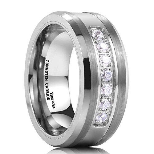 King Will GEM 8mm White Tungsten Ring Unisex Wedding Band Polished Beveled Edge CZ Stone Channel ()