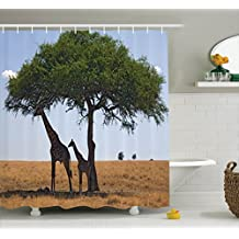 Ambesonne Safari Decor Collection, Baby and Mom Giraffe under the Tree the Tallest Animal Mammal in Savannahs Nature Art Photo, Polyester Fabric Bathroom Shower Curtain, 84 Inches Extra Long, Multi