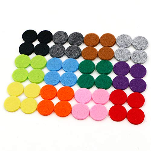 (RoyAroma 17mm (2/3 inch) Replacement Felt Pads(48 pieces) for 25mm Essential Oil Diffuser Locket Pendant Necklace with 12 colors)