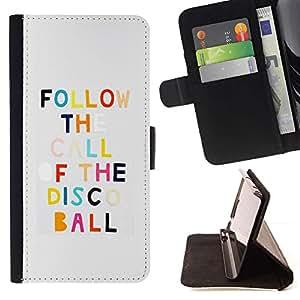 For Samsung Galaxy Note 3 III Case , Disco Dancing motivación de la cita divertida- la tarjeta de Crédito Slots PU Funda de cuero Monedero caso cubierta de piel