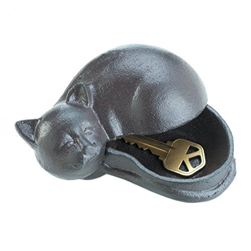 Animal Key Hider, Small House Spare Key Hider Door - Cute Cast Iron Metal Cat