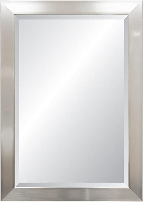 Amazon Com Alpine Mirror Art Vibe Beveled Wall Mirror Silver Home Kitchen