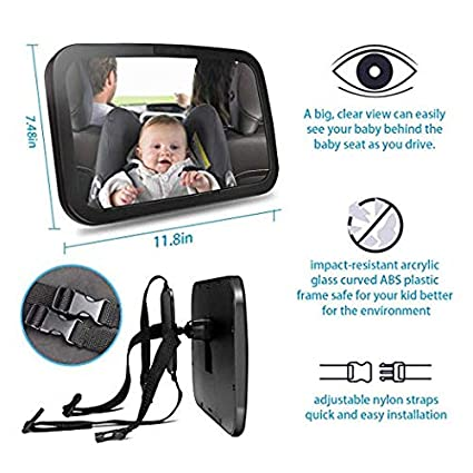 Wide View Adjustable Acrylic 360/° for Infant Safety Ideapro Baby Car Mirror for Headrest Backseat Rear View Facing with Wide Convex Shatterproof Glass and Fully Assembled Back Seat