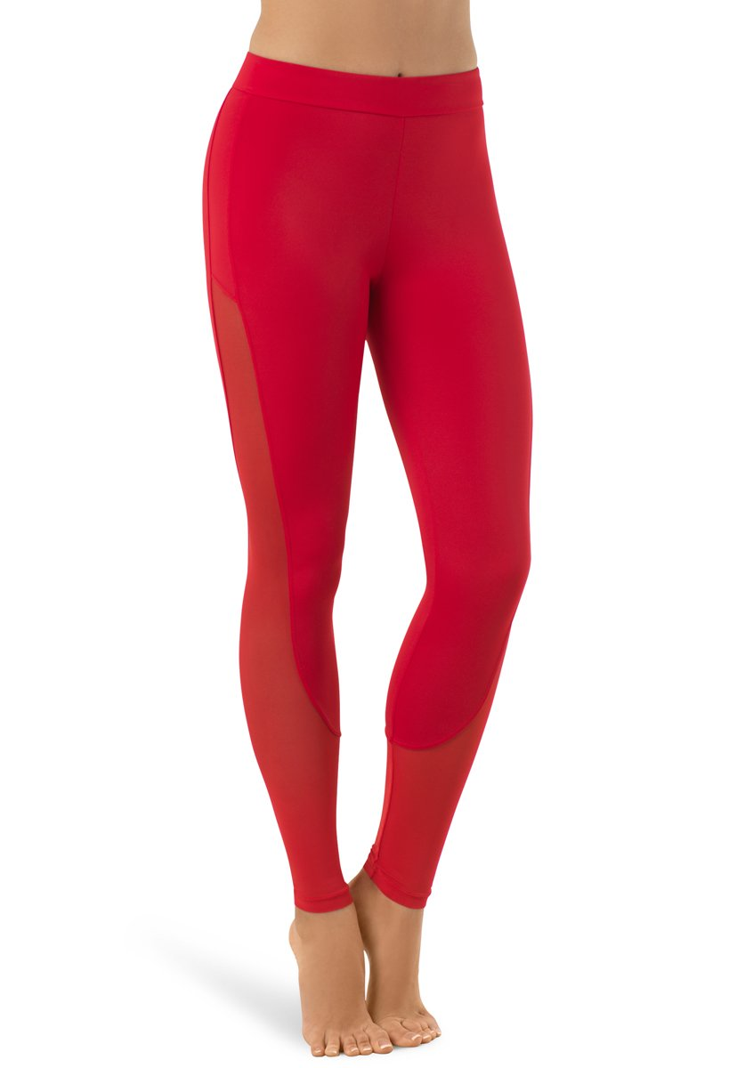 Balera Leggings Girls Pants for Dance with Mesh Ankle Length Bottoms Red Adult Large by Balera