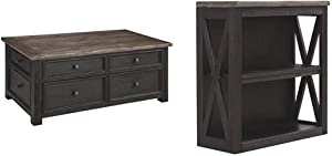 Signature Design by Ashley Tyler Creek Lift Top Coffee Table, Two-Tone (Grayish Brown/Black) & Creek Medium Bookcase Grayish Brown/Black