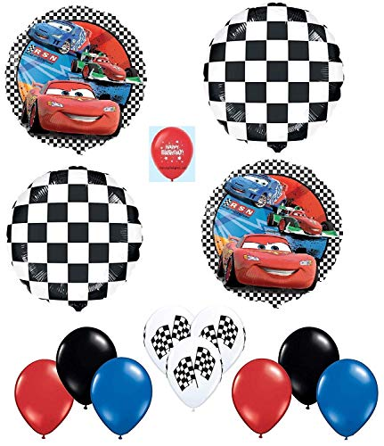 Flag Piece 13 (DalvayDelights Cars McQueen Racing Flag 13 Piece Happy Birthday Party Mylar and Latex Balloons Set)