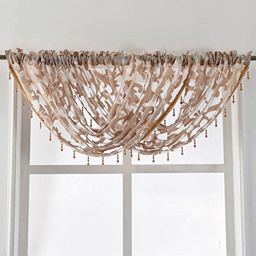 NAPEARL European Style Jacquard Sheer Curtain Organza Fabric Beaded Valance Window Treatment Decoration (1 Valance 57