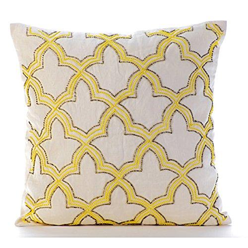 Yellow Lattice (Yellow Throw Pillows Cover for Couch, Lattice Trellis Beaded Throw Pillows Cover, 16