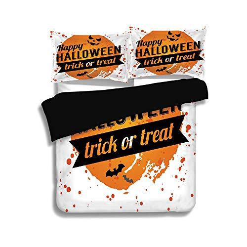 iPrint Black Duvet Cover Set Full Size,Halloween,Happy Halloween Trick or Treat Watercolor Stains Drops Pumpkin Face Bats,Orange Black White,Decorative 3 Pcs Bedding Set by 2 Pillow Shams ()