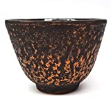 Happy Sales HSCT-GDBK09, Cast Iron Teacup Gold Black