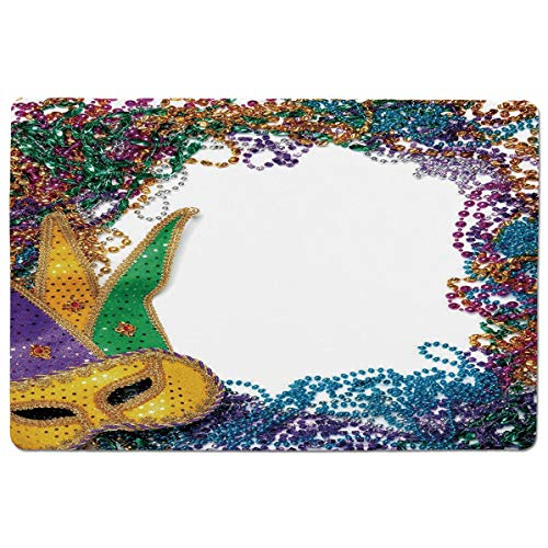 SCOCICI Gaming Mouse Pad with Stitched Edges,Colorful Framework Design with Beads and Mask Fat Tuesday Holiday Theme Decorati,Non-Slip Rubber Base Mousepad for Laptop,Computer & PC 23.6x15.7X0.1 inch
