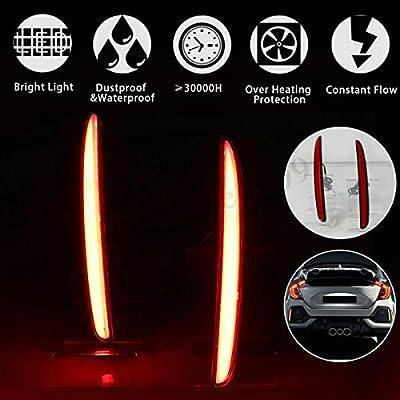 GTINTHEBOX Red Lens LED Bumper Reflector Lights Tail Brake Rear Fog Lamps for 2020-up Honda Civic Hatchback, Type-R or SI 4-Door Sedan: Automotive