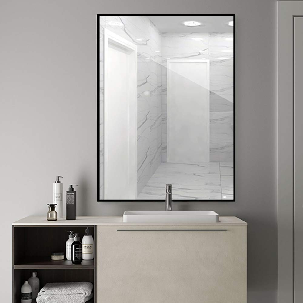 LINSGROUP Large Modern Wall-Mounted Frame Mirror Rectangle Hangs Horizontal or Vertical for Bedroom Bathroom Living Room 38 X26 ,Black