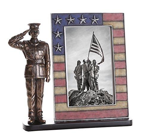 USMC Cold Cast Bronze Marine Officer Salute Stars and Str...